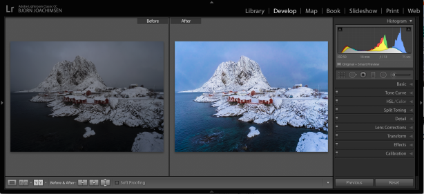 Lightroom Develop før og etter
